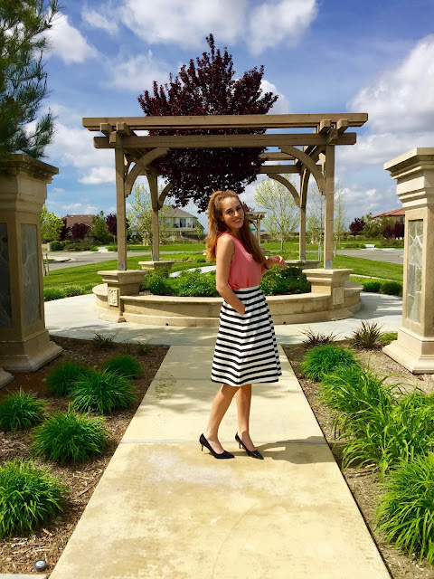 How to style a midi skirt: striped long skirt and heels perfect for work or a special event