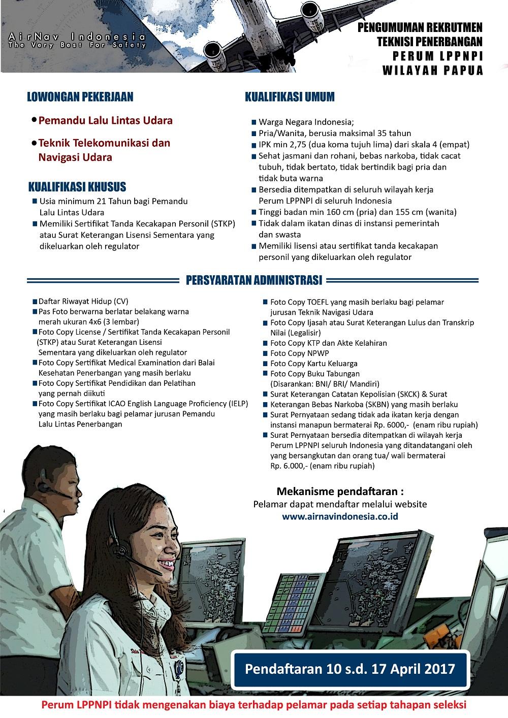 Rekrutmen Fungsi Teknisi Penerbangan Perum LPPNPI 2017 Wilayah Papua