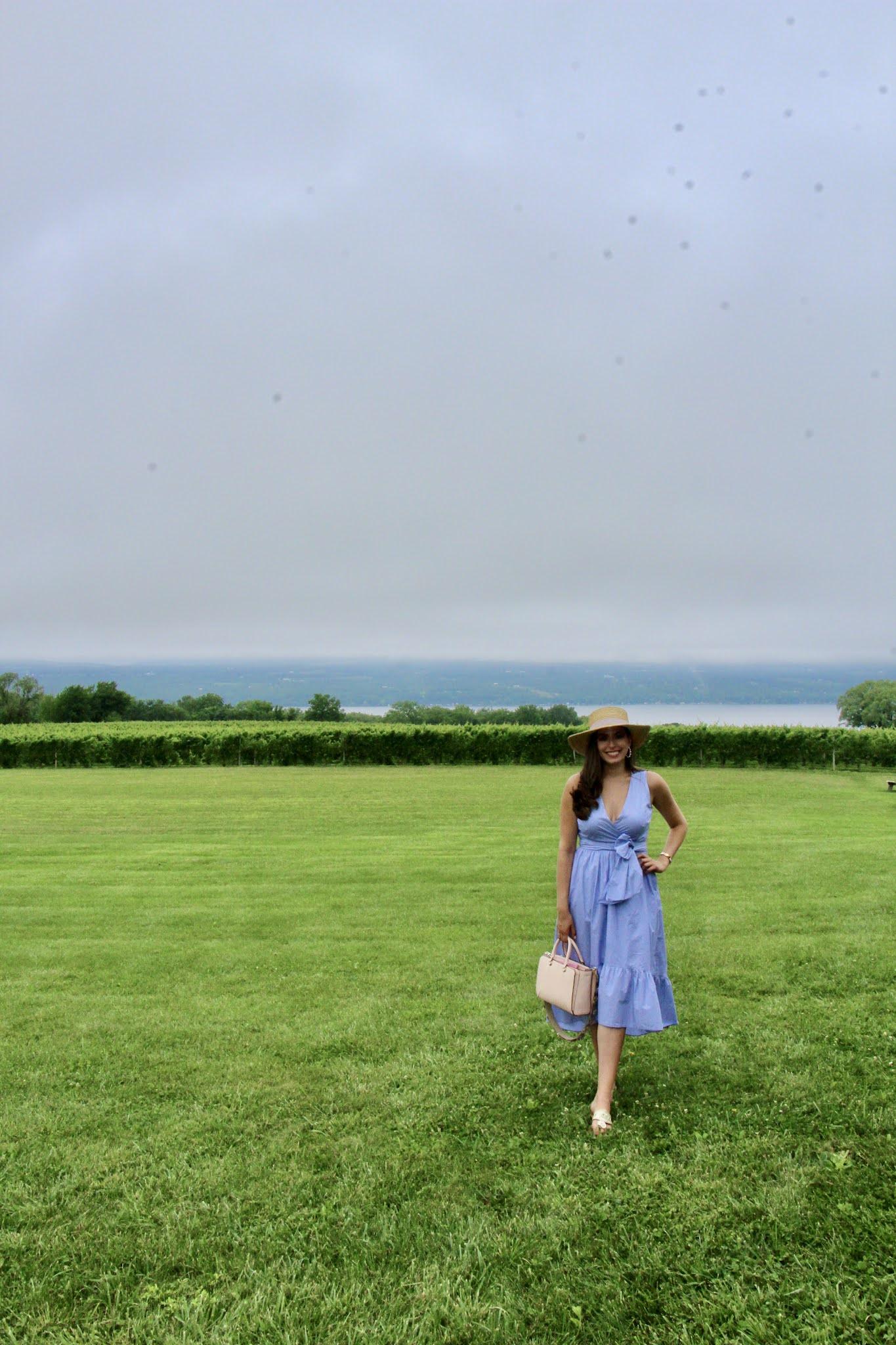 upstate new york, travel, explore, winery, vineyard, straw hat, maxi dress