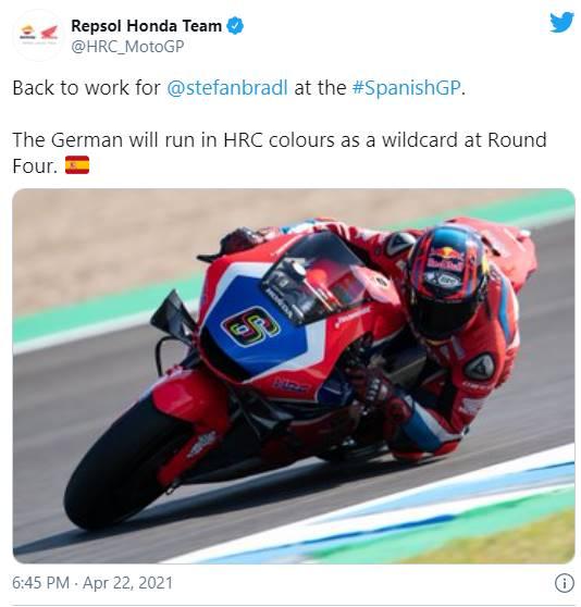 Stefan Bradl Kembali Akan Membalap di GP Jerez 2021, Gantikan Marc Marquez Lagi ???