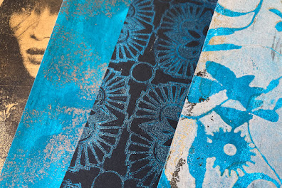Gelli Arts Print with Metallic and Glitter Acrylics