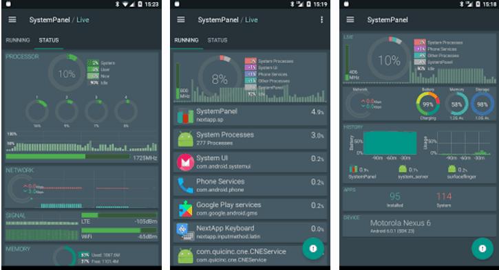 SystemPanel 2 التحديث على تقديم إحصاءات محسنة تابع استخدام موارد الجهاز وحافظ على سرعه هاتفك