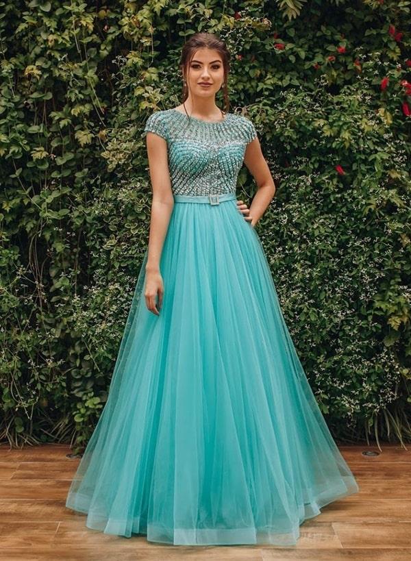 vestido de festa longo azul tiffany com manga curta