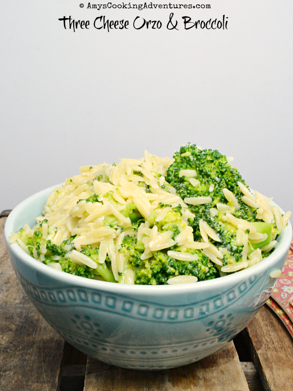 Most Popular Recipe of the Week | Three Cheese Orzo with Broccoli from Amy's Cooking Adventures #SecretRecipeClub #recipe #sidedish #vegetarian