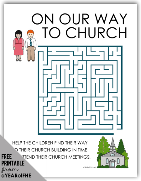 A Year of FHE // FREE maze activity page about church attendance for young kids.  This would be great to print out and have kids do during sacrament meeting. #lds #mormon #coloringpage