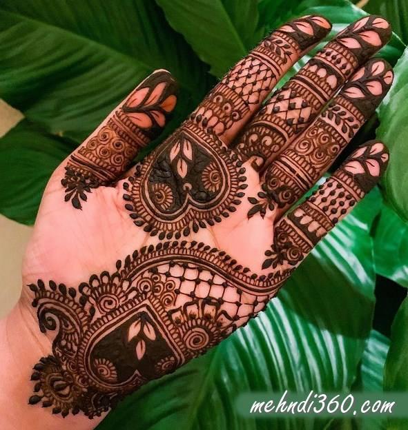 Heart Mehndi Design Front Hand