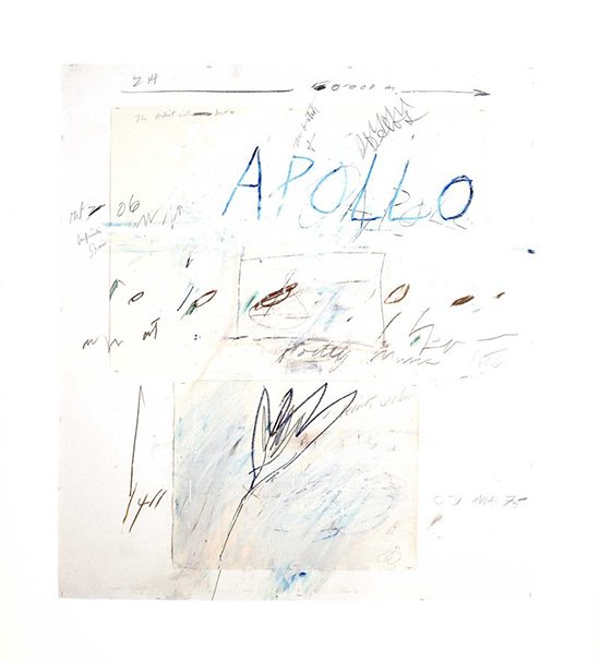 Cy Twombly  Apollo and the Artist, 1975  oil paint, wax crayon, pencil and collage on paper 142 x 128 cm