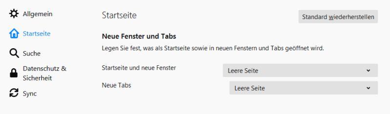 Leere Startseite im Browser festlegen
