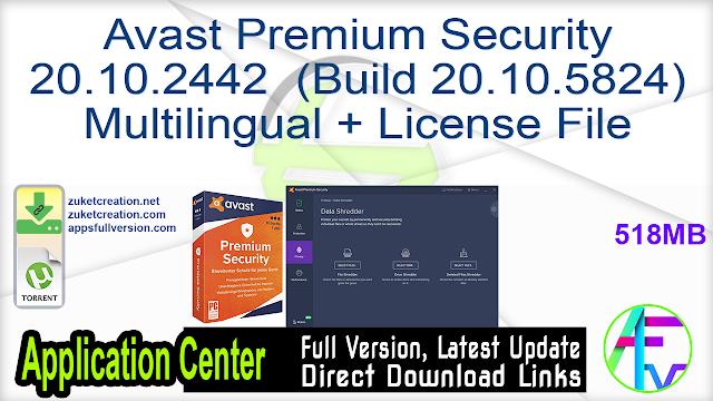 Avast Premium Security 20.10.2442 (Build 20.10.5824) Multilingual + License File