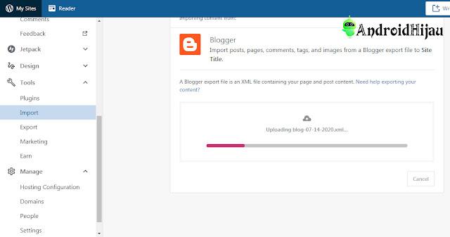 Upload file xml blogspot yang sudah di backup sebelumnya