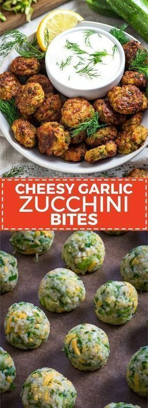 Cheesy Garlic Zucchini Bites