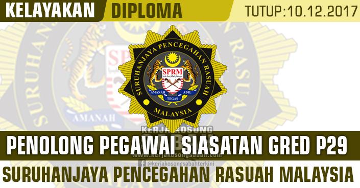Jawatan Kosong Sprm Penolong Pegawai Penyiasat Gred P29 Jawatan Kosong Terkini Negeri Sabah