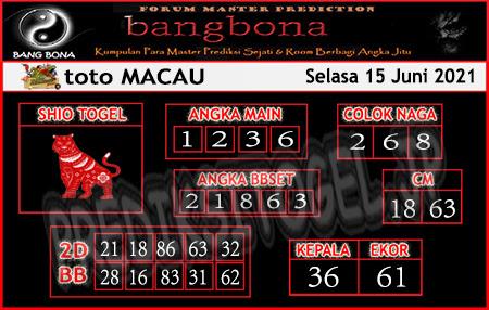 Prediksi Bangbona Toto Macau Selasa 15 Juni 2021