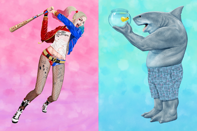 """The Suicide Squad """"Harley Quinn"""" & """"King Shark"""" Giclee Prints by Jason Raish x Bottleneck Gallery"""
