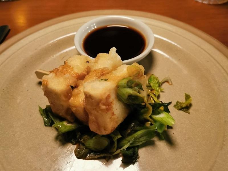 Tempure tofu skewer with ponzu dipping sauce