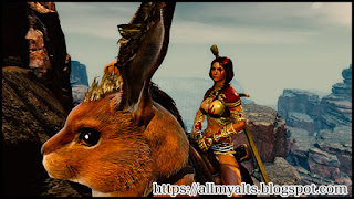 A female Norn explores snowy mountains on a rabbit mount