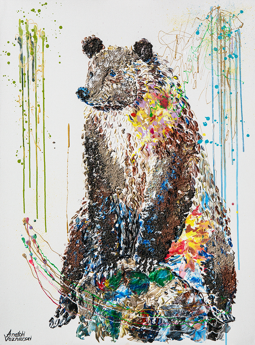 bear painting, bear mixed media, Grizzly Bear painting, bear 3d painting, bear dot painting, abstract bear art,bear textured, bear wall art, bear pop art, acrylic bear,