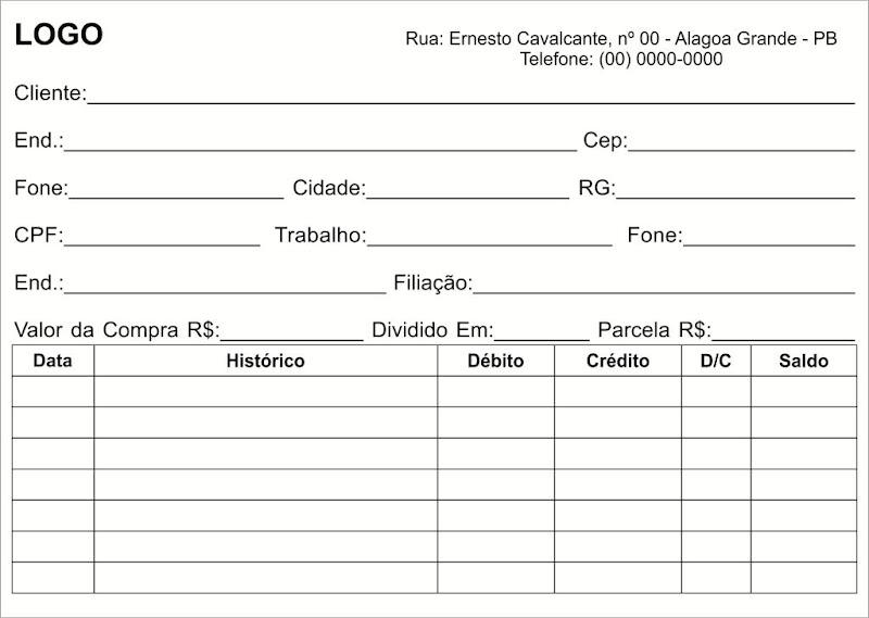 Ficha para Cadastro e Controle de Clientes Corel Draw editável Download Grátis