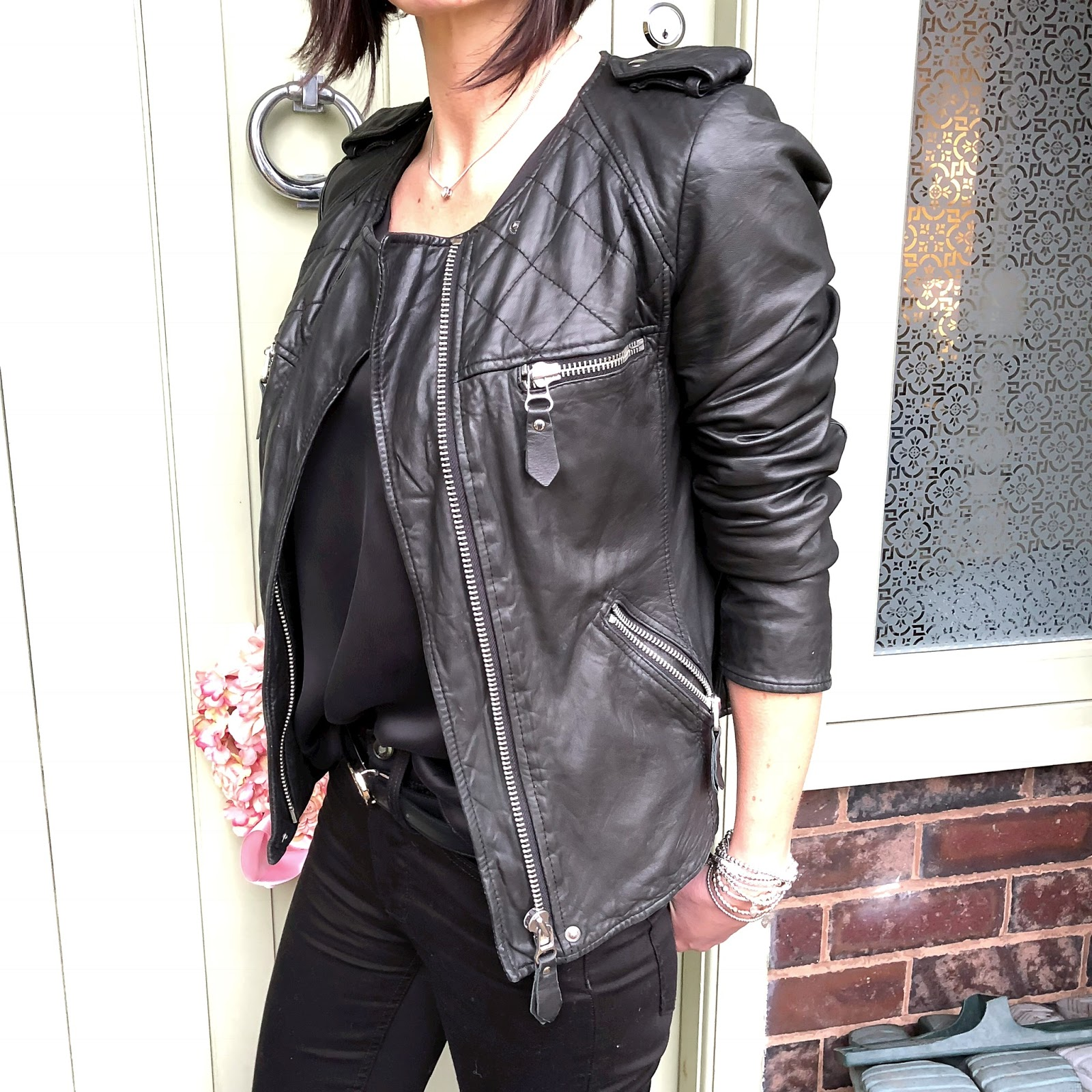 my midlife fashion, the women's society boutique, elia b tucan loafers, isabel marant leather biker jacket, marks and spencer silk top, gucci 2cm leather belt, j crew billie demi crop flare jeans
