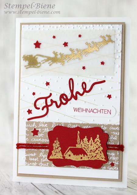 Stampin Up Winterliche Weihnachtsgrüße, Stampinup Weihnachtskarte, Stampinup Katalog, Stempel-Biene, Frägeform Schnee, Thinltisformen Weihnachtsworte, Stempelparty buchen, Vorteile stampinup Demonstrator