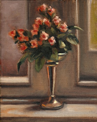 Oil painting of plastic miniature pink roses in a silver-plated Art Deco vase on a windowsill between two windows.