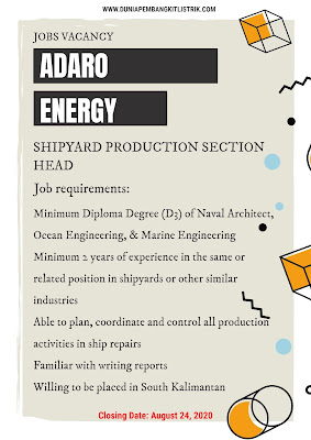 PT Adaro Energy Tbk Jobs: Blasting & Painting Officer and Shipyard Production Section Head