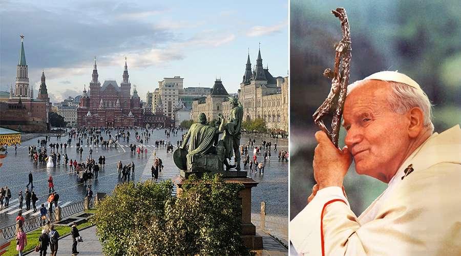 Plaza Roja de Moscú y una imagen de San Juan Pablo II / FLICK