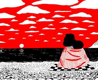 contemplando juntos un atardecer en la playa