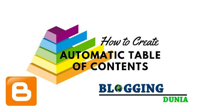 How To Create Automatically Table of Contents in Blogger Posts