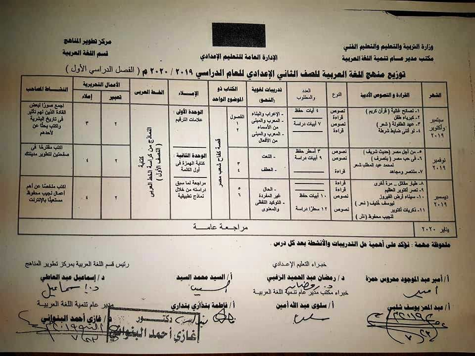 توزيع منهج اللغة العربية لصفوف المرحلة الإعدادية ترم أول 2019 / 2020 2