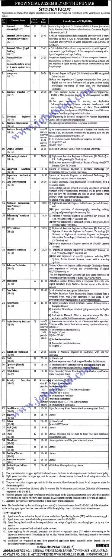 Jobs in Pakistan Punjab Assembly Jobs 2021    Punjab Provincial Assembly Jobs 2021