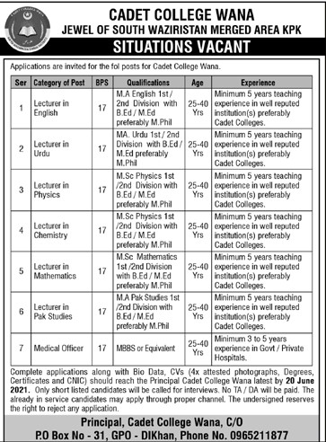 Cadet College WANA South Waziristan Jobs 2021 in Pakistan
