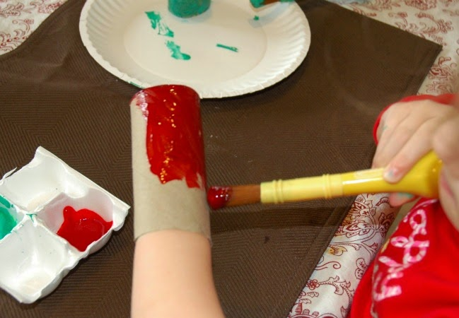 painting tube red for Grinch hat