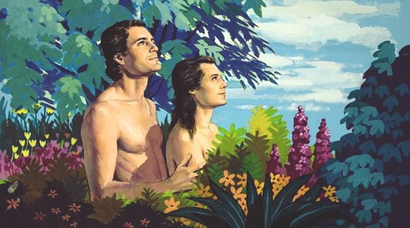 Ilustração de Adão junto com Eva o primeiro casamento da humanidade