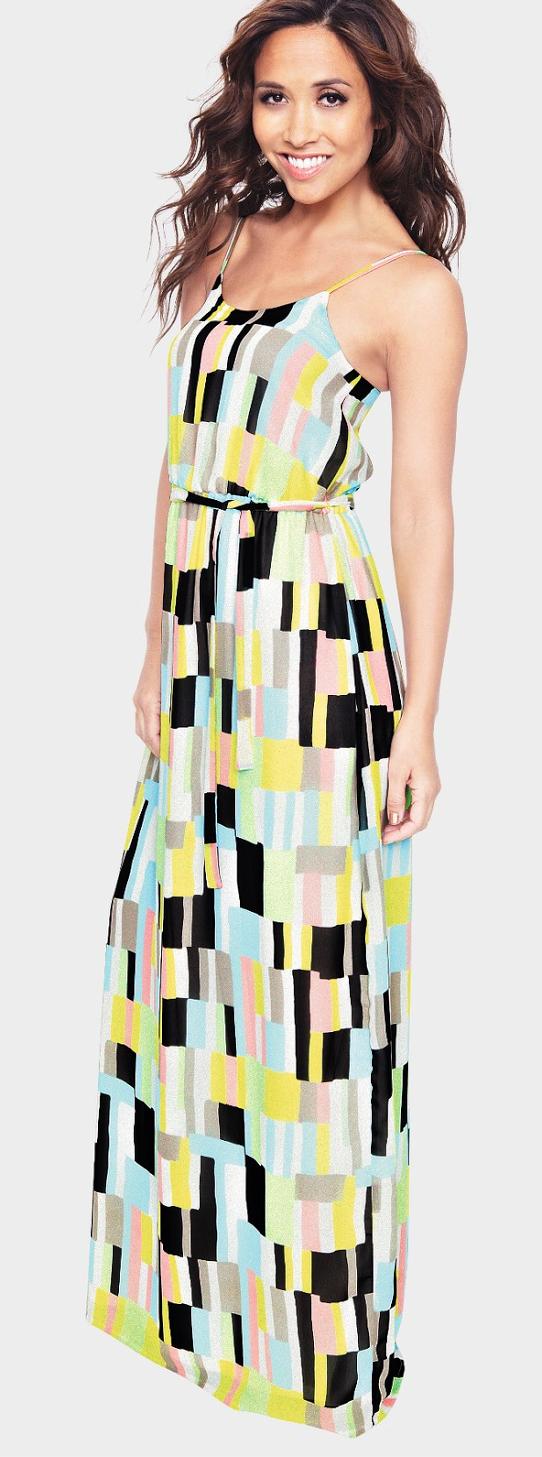Chiffon, Geometric Print, Maxi Dress, Multicoloured, Myleene Klass, Myleene Klass For Littlewoods, Print, Scoop Neck, Shape Print, Sleeveless, Tie Waist, Waist Belt, Waist Detail