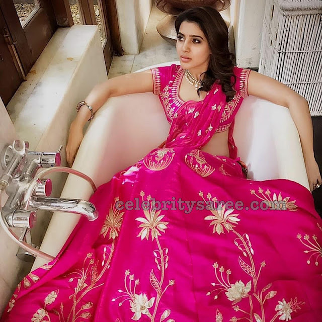 Samantha Pink Half Saree