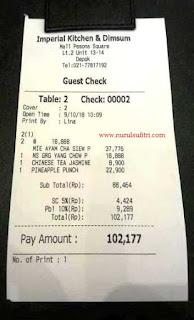 nota pembayaran makan di restoran imperial kitchen and dimsum mall pesona square depok nurul sufitri blogger