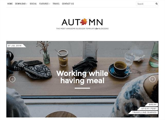Autumn - бесплатный шаблон для blogger blogspot - free 2016