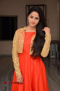 Telugu Actress Divya Nandini Stills in Orange Sleeveless Gown at Chennai Chaitrama Movie le Launch Event  0005.JPG