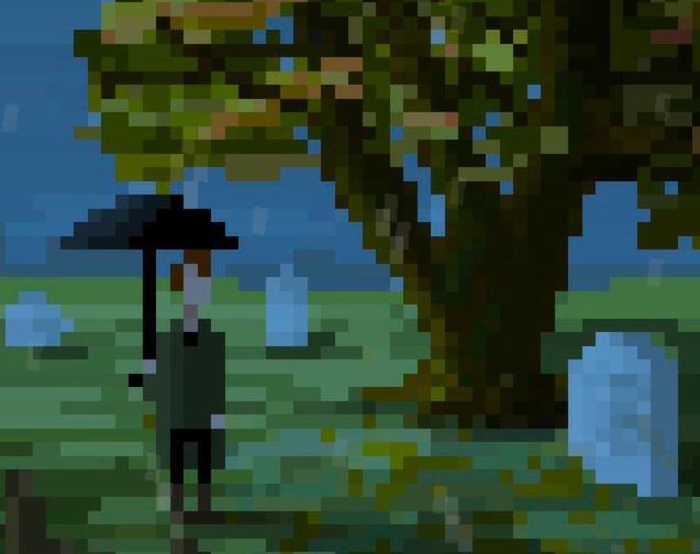 Hombre con una paraguas.