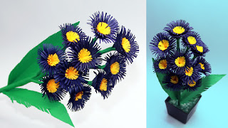 How to Make a Blue Quilling Paper Flower Pot and Flowers for Home ...   180x320