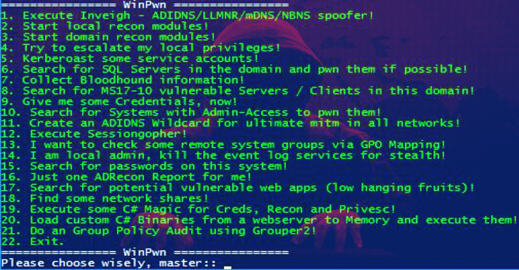 WinPwn : Automation for Internal Windows Penetrationtest / AD-Security