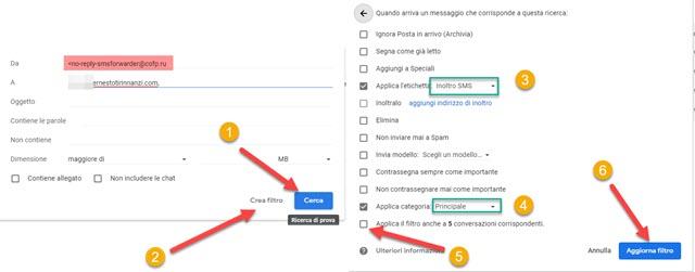 creazione di un filtro con gmail