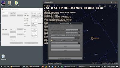 virtual hand controller beside Stellarium