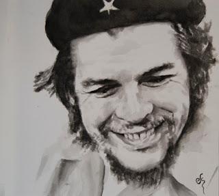 Retrato del Che pintado en acuarela negra