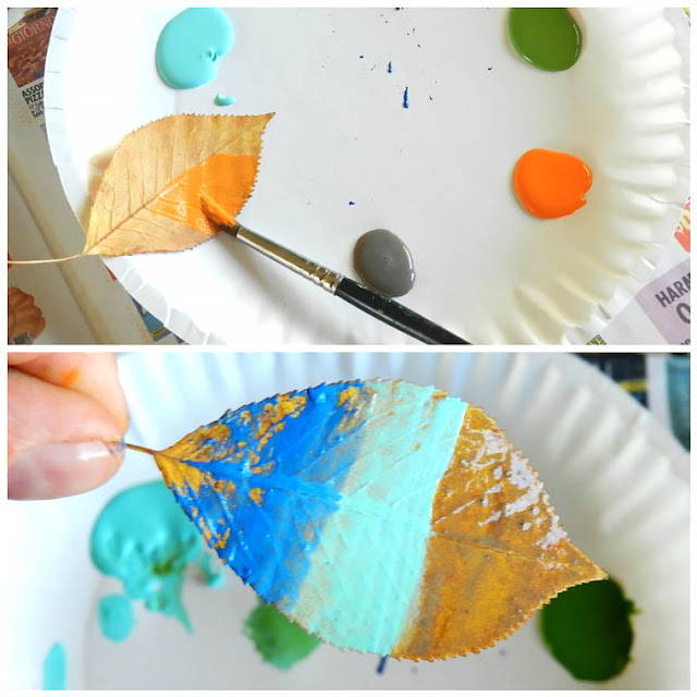 Colorful Painted Fall Leaves Craft by Elise Engh Studios