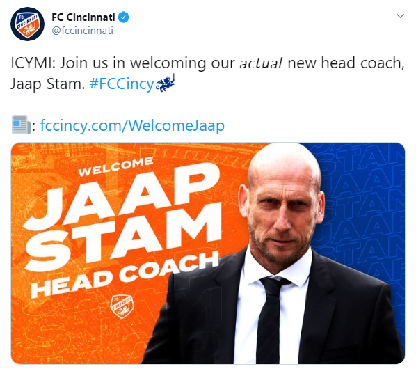 FC Cincinnati tweet the correction of Jaap Stam appointment