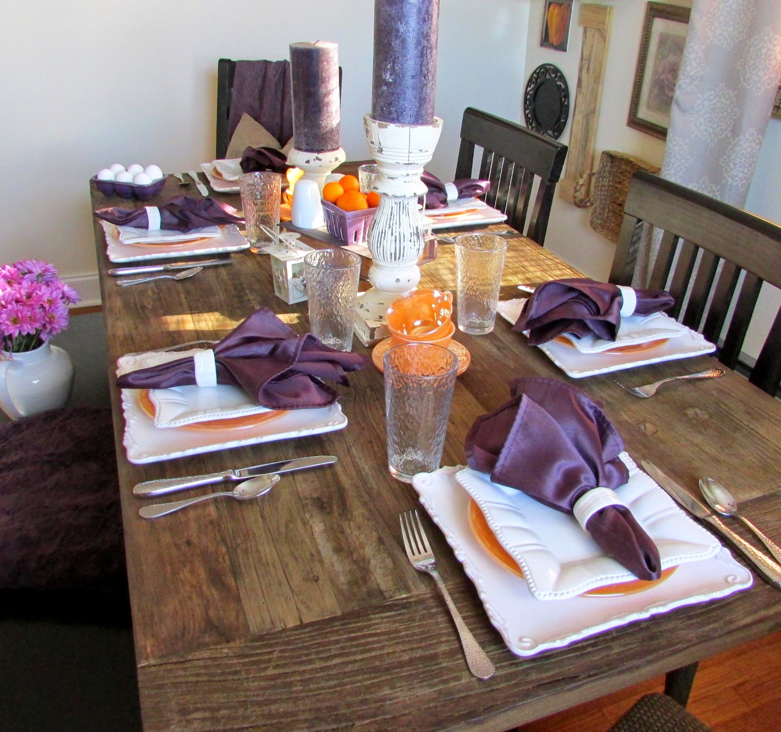 Orange and White Table Setting for Breakfast - Rustic & Refined