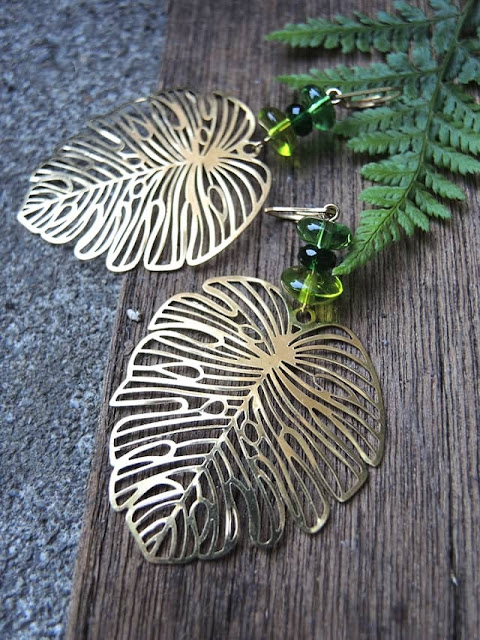 Monstera Leaf Earrings