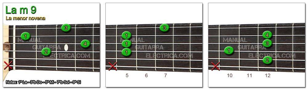 Acordes Guitarra La menor Novena - A m 9
